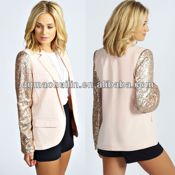 lastest long sleeve fashion elegant ladies formal blazer with sequin