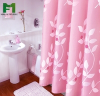European Style 100% Polyester Pink Easy Clean Printed Waterproof Shower Curtains