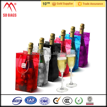 Eco-friendly plastic pvc ice bag for wine,single bottle wine ice bag with logo,reusable pvc chill ice wine bag wholesale