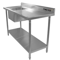 Grade A polishing clean finsh dish washing sink table for restaurant kitchen