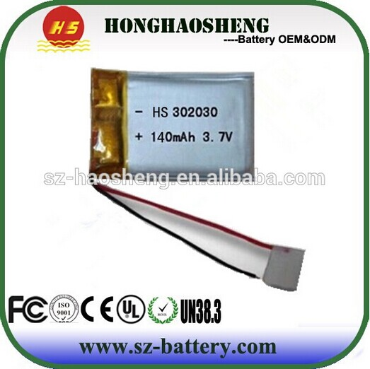 032030PL Rechangeable Battery 3.7V 140MAH Lipo Battery with high quality