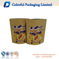 Customized Kraft paper aluminum foil standup packaging bags with zipper