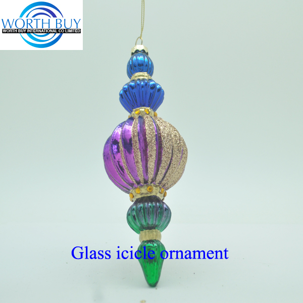 Golden glitter decorated Christmas glass icicle ornament for Christmas decoration