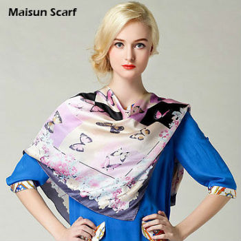 the Most popular butterfly printing hijab design square arab scarf