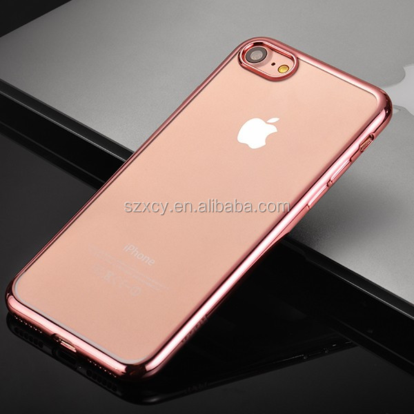 For Apple iPhone 7 electroplate TPU clear phone case covers