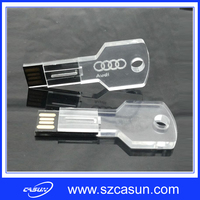 2016 newest acrylic Key USB flash drive, transparent USB disk key shape with laser engraved logo