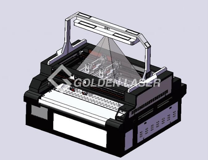 PU Synthetic Leather Digital Dual Head Laser Cutting Machine with Auto Feeding System