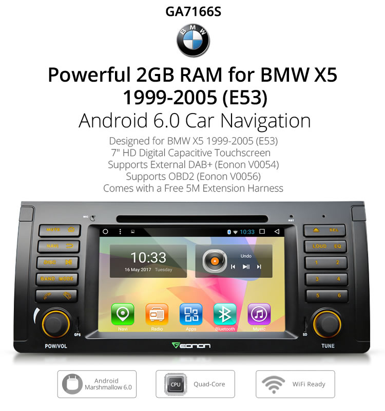 EONON GA7166S for BMW E53 Android 6.0 RAM 2GB 7 inch Multimedia Car DVD GPS with Mutual Control EasyConnection