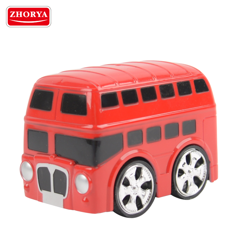 Zhorya toddlers model red mini rechargeable cartoon rc double decker plastic toy bus