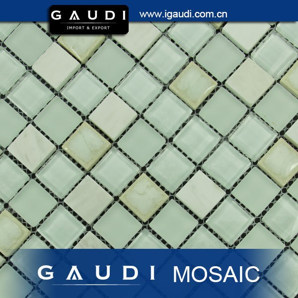 cheap price per square meter glass stone mix porcelain mosaic kitchen tile