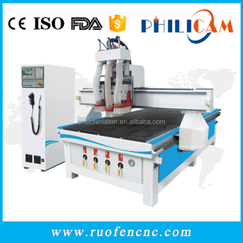 Philicam cnc router 1325 for engraving wood with 3 spindles in Italy