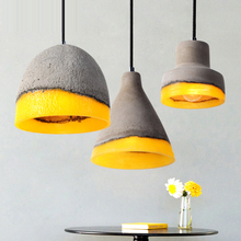 Modern Concrete Pendant Light, Vintage Industrial Cement Hanging Ceiling Chandelier Lamp