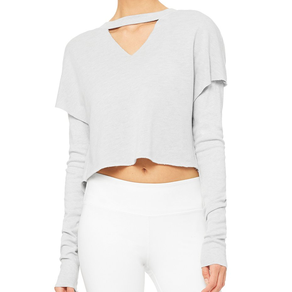 Cheap Wholesale Breathable Long Sleeve Shirt Crop Top Women Crop Top Tshirts