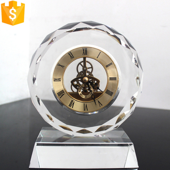 wholesale hot sale new fashion round shape desktop crystal clock for souvenir