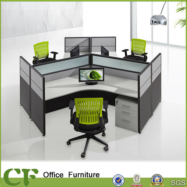 Modern Style Office Round Workstation For three Persons