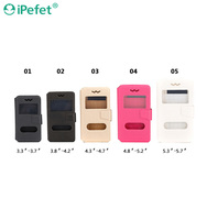 Ultra Thin Universal Leather Stand Phone Case For Mobile Phone With Smart View Window