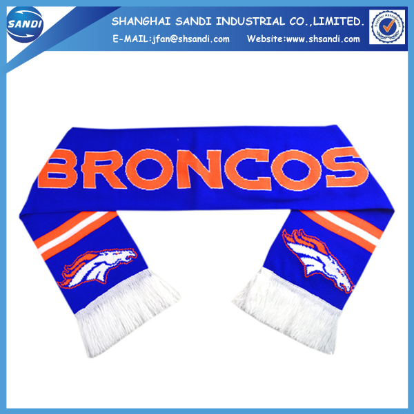 Promotional Acrylic sport fan custom football knitted scarf