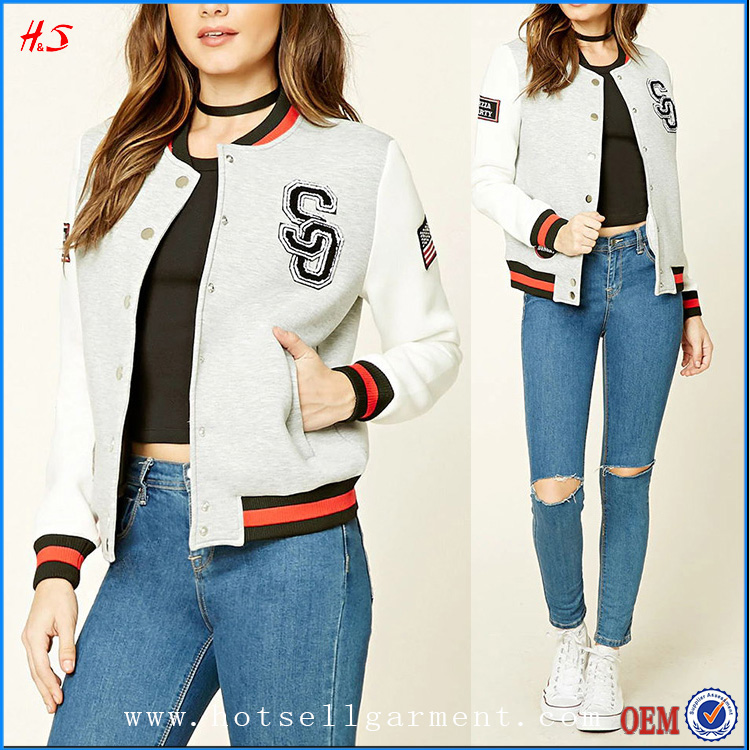 Latest Long Sleeve Patches Wholesale Custom Varsity Jacket With Contrast Ribbed Knit Trim