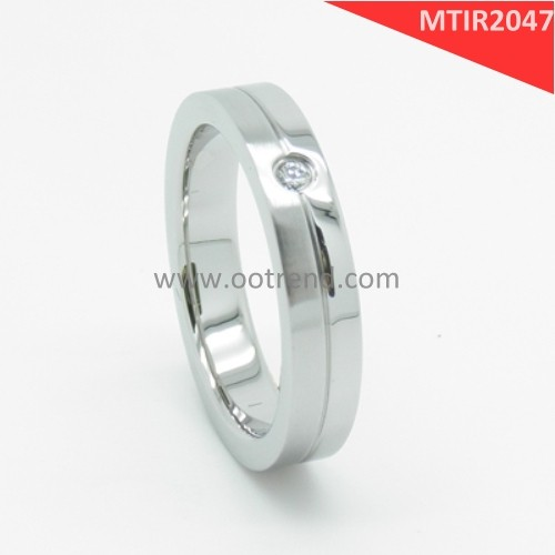 Shiny satin combination Pure Magnesium zirconia ring wedding