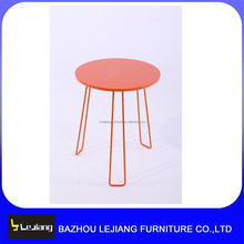 small round mdf wooden top metal legs side table