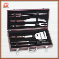 Made In China Easily Cleaned Deluxe 6 Piece Full BBQ Barbeque Tool Set with Case For BBQ Pinic Time