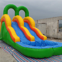 EN14960 slip on a water slide bouncer inflatable water jumping slide with pool for sale