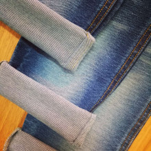 Organic cotton polyester jersey knit denim fabric