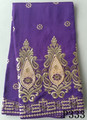 Purple embroidery george silk george fabrics african beaded george fabric