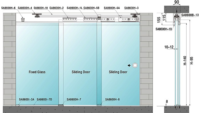 Modern design interior partition wall sliding doors for office