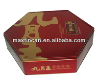 Fashion Chinese Mid-autumn Day mooncake tin box with traditional Chinese element design from Guangdong producer in China