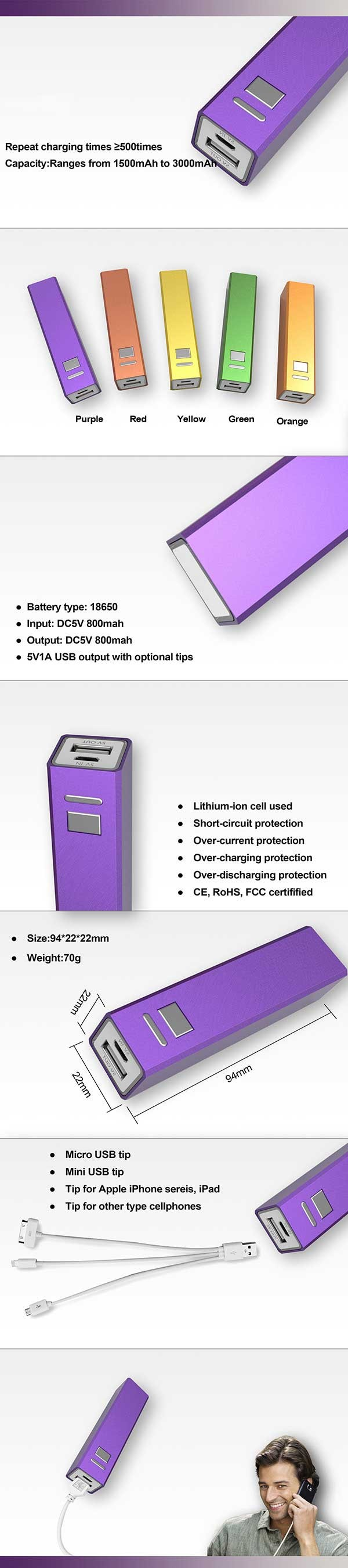 Best promotional retangle power bank button brushed metal powerbank portable power bank
