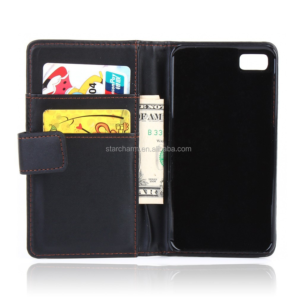 Cheap price wallet leather flip case for Blackberry Z10