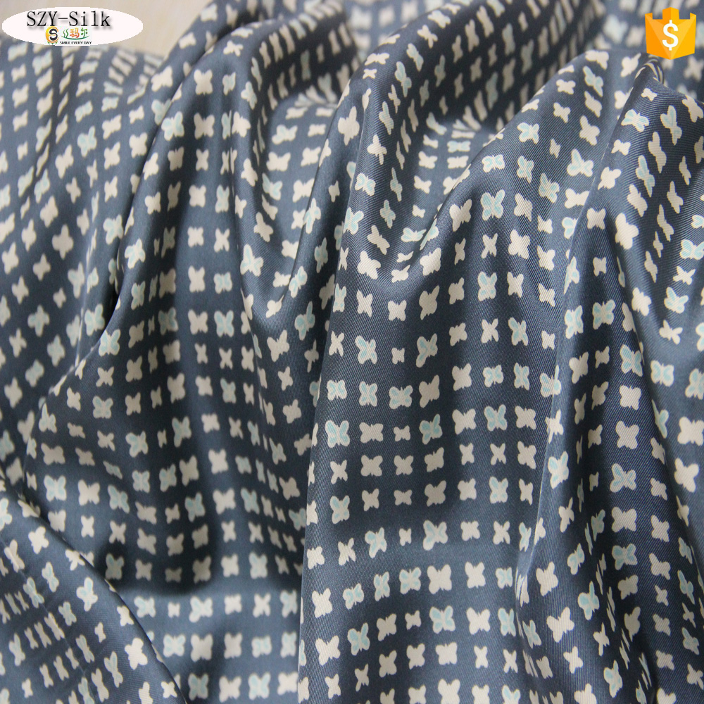 Hot Sale 18mm Printed pure silk twill fabric for scarf