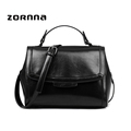 Small Black Shoulder Leather Tote With Shoulder Strap