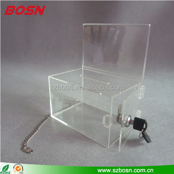 Wholesale clear acrylic ballot box with chain perspex church tent case for donation