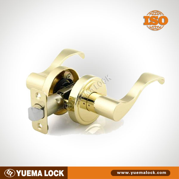 2716 Wave Privacy Lever Lock, Polished Brass