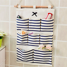 Linen Cotton Fabric Wall Door Cloth Hanging Storage Bag Case 6/8 Pocket Home Organizer