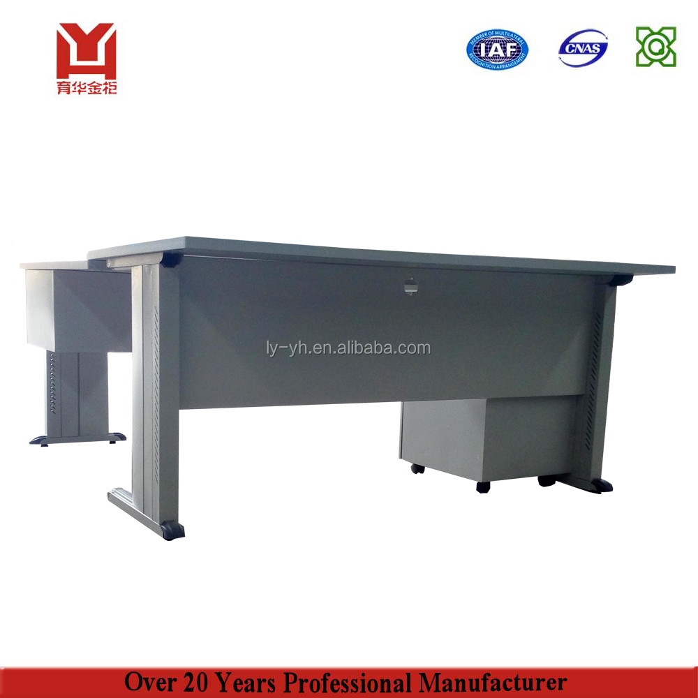 Modern Steel Office Furniture L Shaped Office Desk Metal Table / Executive Office Desk