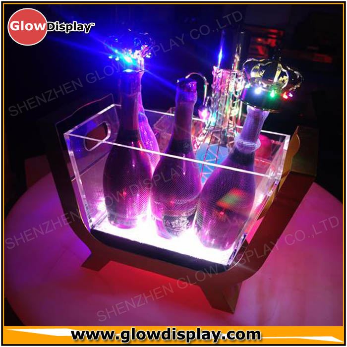 Large 6 bottles LED champagne boat luminous ice bucket champagne bucket for bar and party
