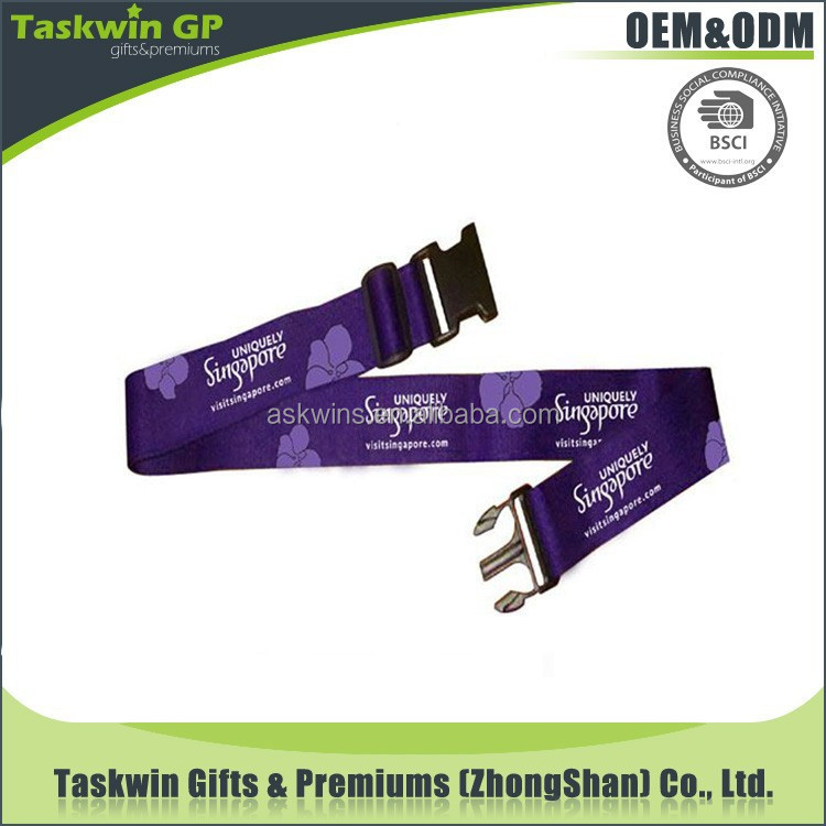 polyester adjustable luggage belt with logo for promotional gifts