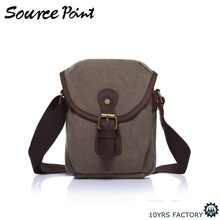 YD-1901 Unisex outdoor vintage cotton waxed canvas small shoulder bag satchel