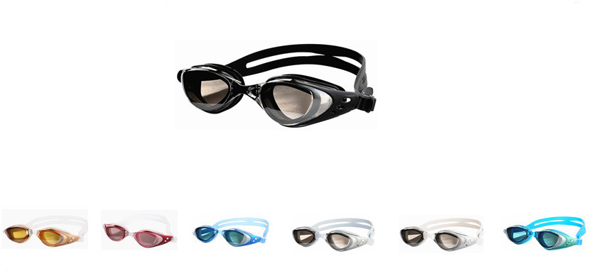 Mirrored waterproof silicone wholesales custom swimming goggles