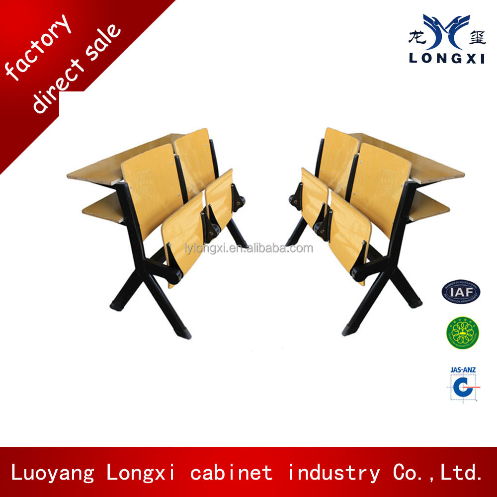 Cheap wooden school furniture student auditorium desk and chair, auditorium front row desk steel and wood mixed design