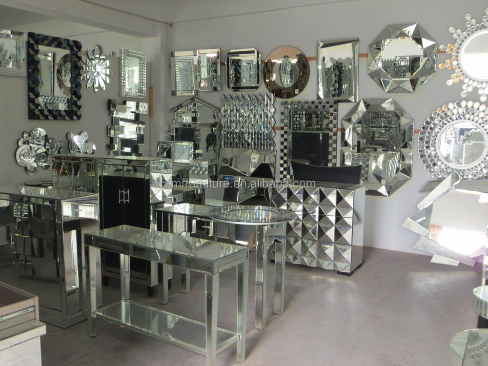 Modern Mirrored Diamond Shape Coffee Table For Living Room