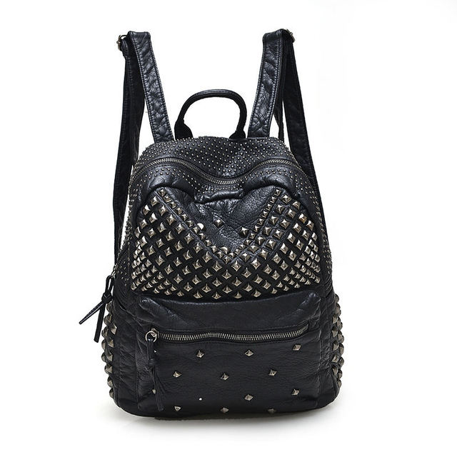 2016 Fashion Women Waterproof PU Leather Rivet Backpack Women's Backpacks for Teenage Girls Ladies Bags with Zippers Black Bags
