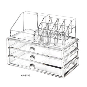 Clear crystal 3 drawer acrylic deco cosmetic makeup organizer