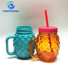 wholesale 16oz colored handle with straw glass mason jars