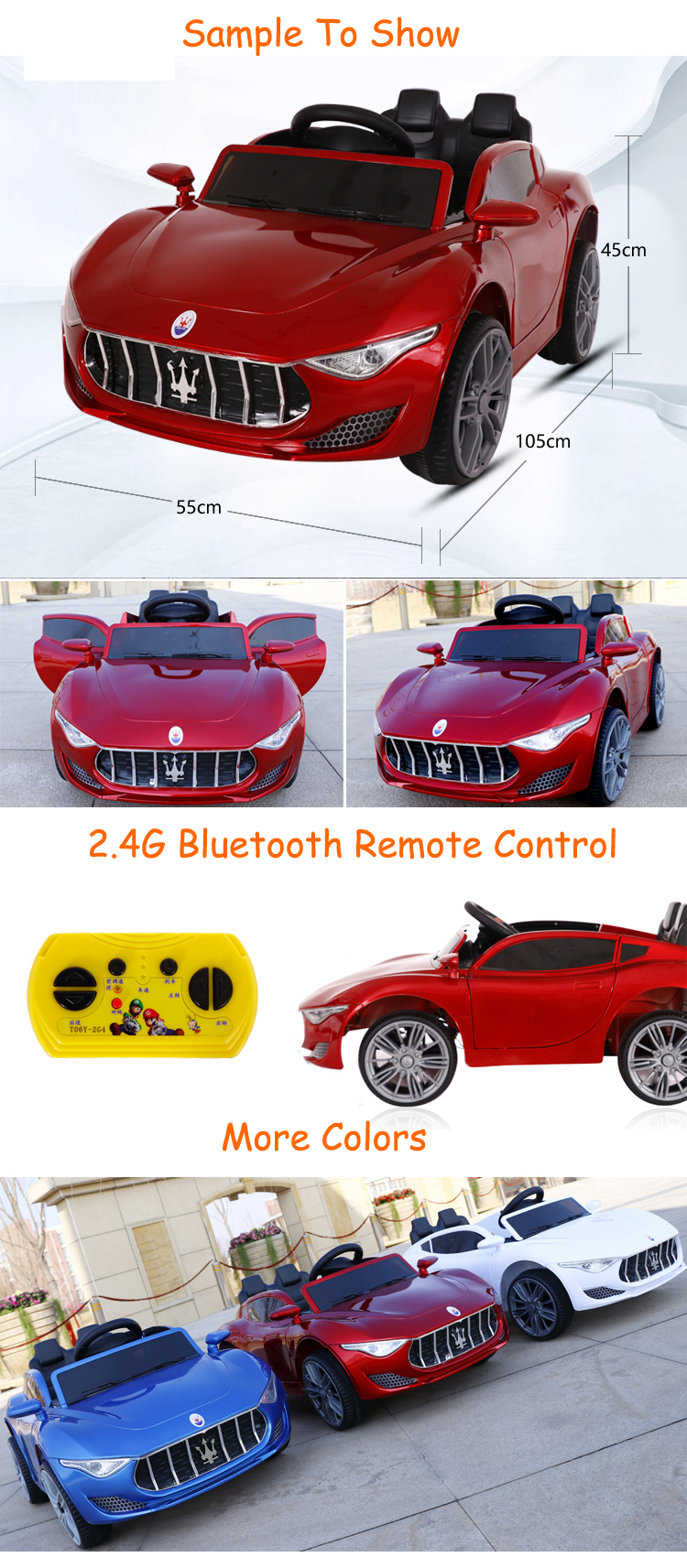 New model high quality 6V4*2 battery 2 seater electric ride on cars for kids