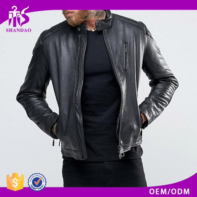 Guangzhou Shandao custom outdoor leather 100% polyester zip windproof China coat leather jacket lahore