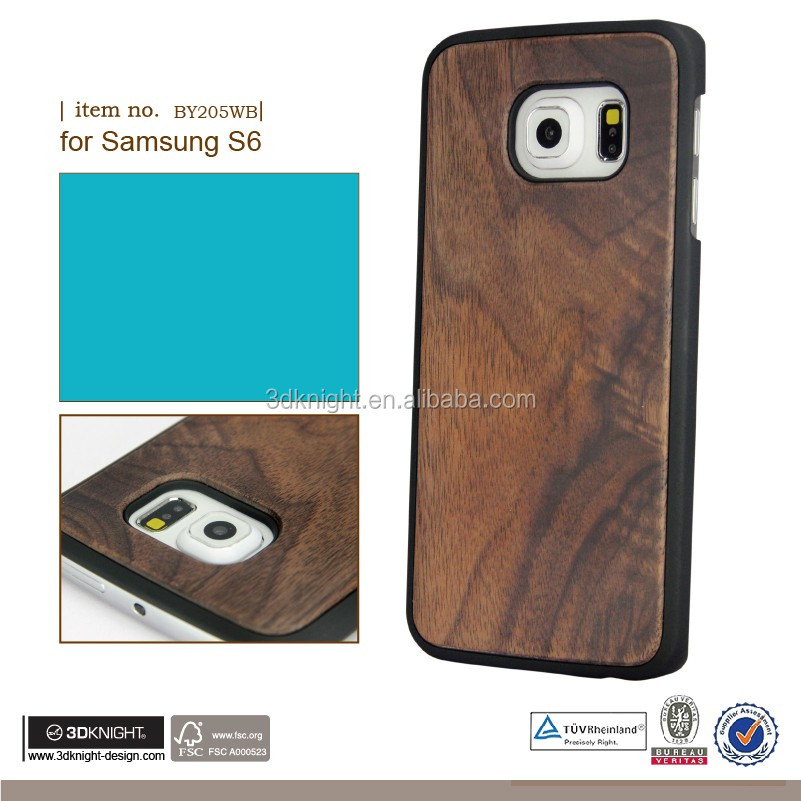 Factory wholesale original design for Samsung galaxy S6 wood bamboo phone case